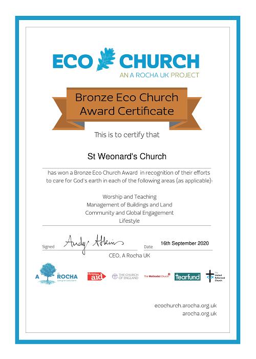 St Weonards Church Eco Church Bronze Award certificate 2020