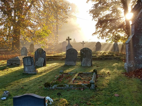 Pencoyd churchyard in autumn sunshine